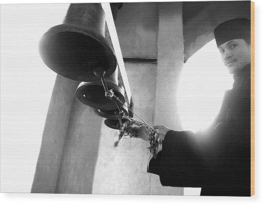 Ringing The Bells At The Monastery Wood Print