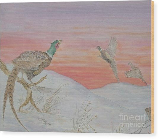 Ringnecks At Sunrise Wood Print