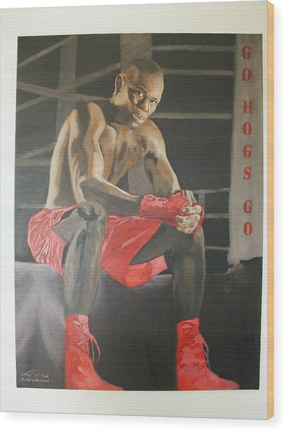 Ringside With Jermain Wood Print by Angelo Thomas