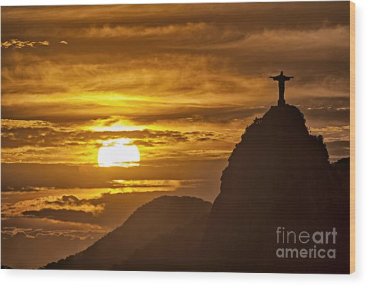 Wood Print featuring the photograph Rio De Janeiro Christ Statue by Juergen Held