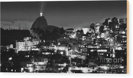 Rio De Janeiro - Christ The Redeemer On Corcovado, Mountains And Slums Wood Print