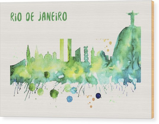 Rio De Janeiro Skyline Watercolor Poster - Cityscape Painting Artwork Wood Print