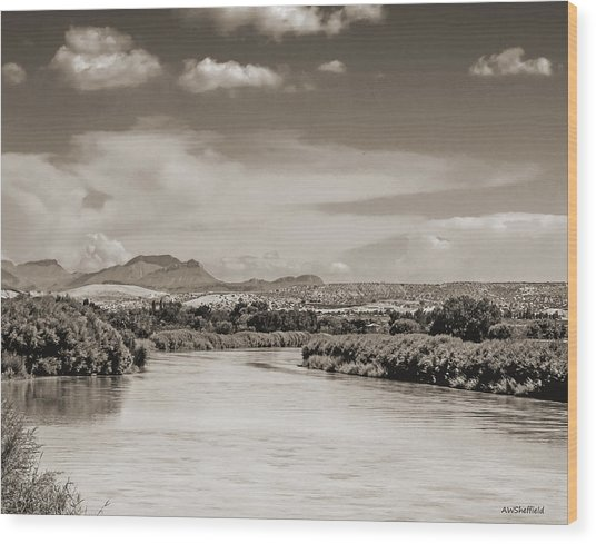 Rio Grande In Sepia Wood Print