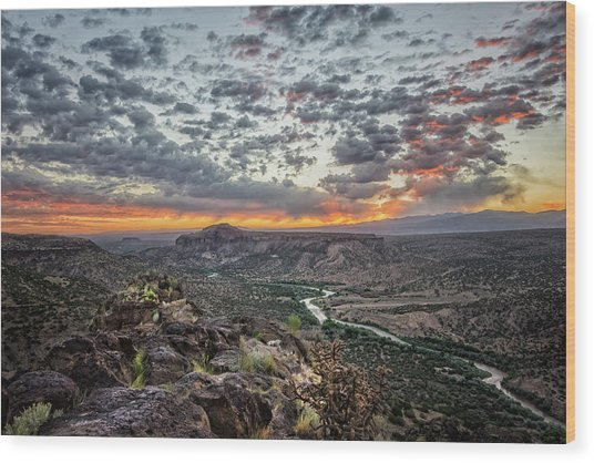 Rio Grande River Sunrise 2 - White Rock New Mexico Wood Print