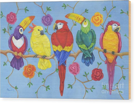 Rio Tropical Birds Wood Print by Paul Brent