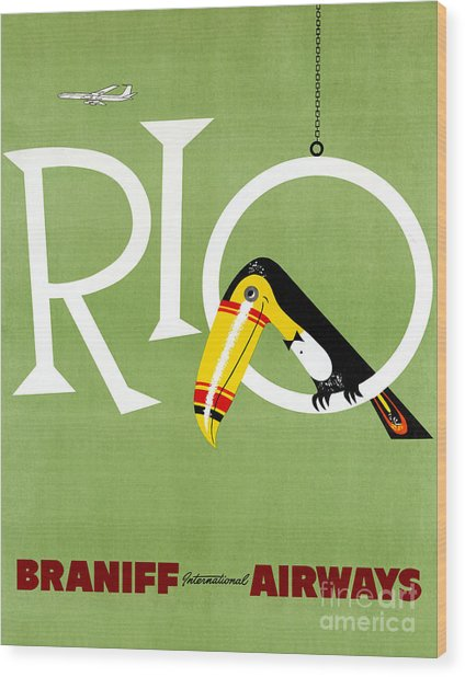 Rio Vintage Travel Poster Restored Wood Print
