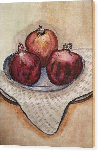 Ripe Pomegranates . Wood Print