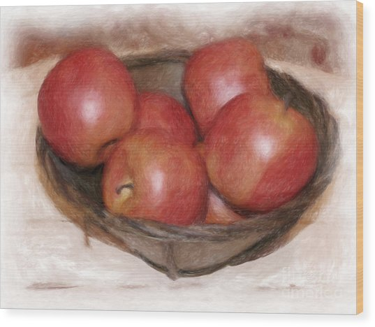 Ripe Red Apples Wood Print by Susan  Lipschutz
