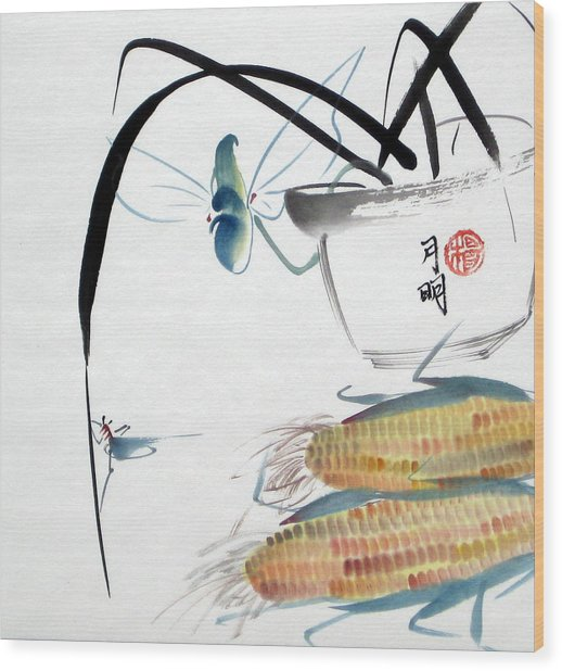 Ripen Corns Wood Print by Ming Yeung
