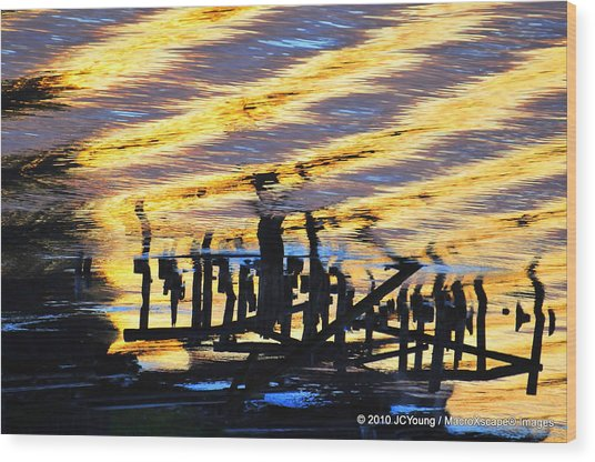 Ripple Effects Of The Day Wood Print by JCYoung MacroXscape