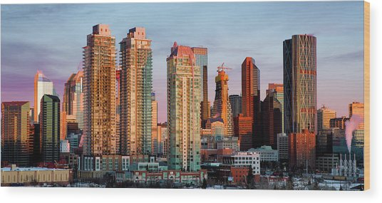 Rising Sun On Calgary Wood Print
