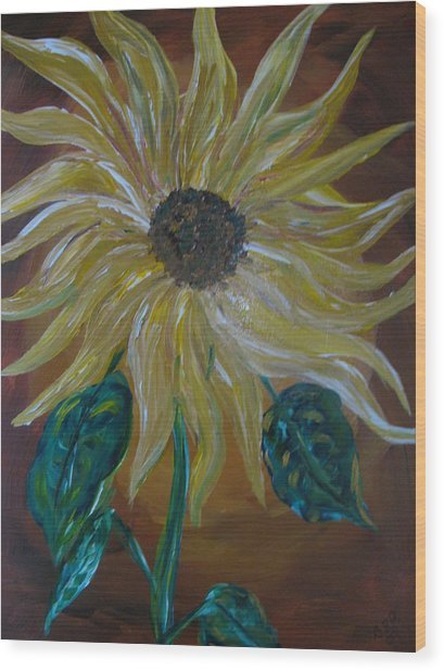 Rising Sunflower Wood Print by Dennis Poyant