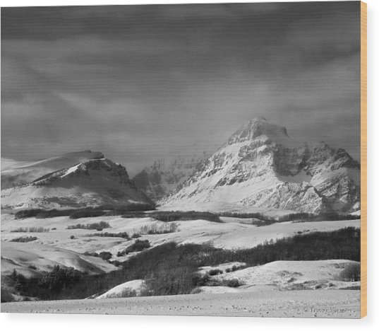 Rising Wolf Mountain- Winter - Black And White Wood Print