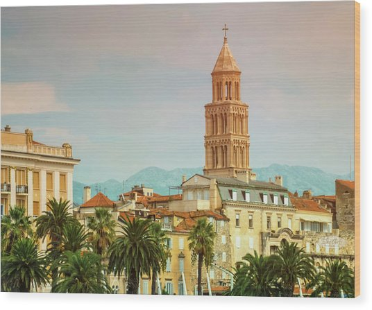 Riva Waterfront, Houses And Cathedral Of Saint Domnius, Dujam, D Wood Print