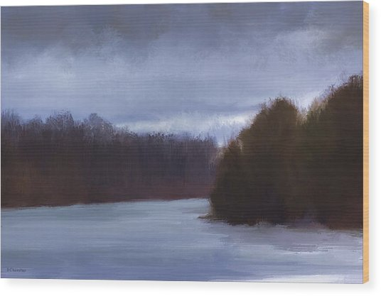 River Bend In Winter Wood Print