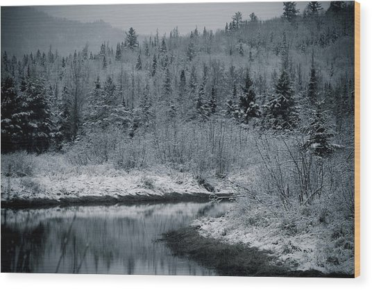 River Bend Winter Wood Print by Todd Bissonette