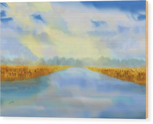 Wood Print featuring the painting River Blue by Valerie Anne Kelly