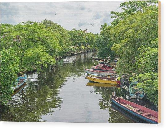 River Boat Dock Wood Print