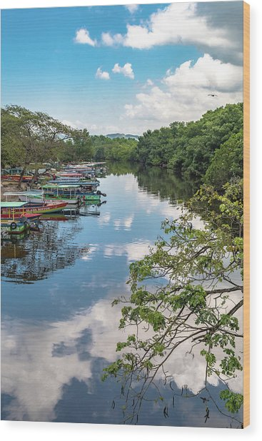 River Boats Docked In Negril, Jamaica Wood Print