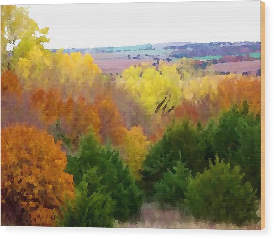 Wood Print featuring the digital art River Bottom In Autumn by Shelli Fitzpatrick