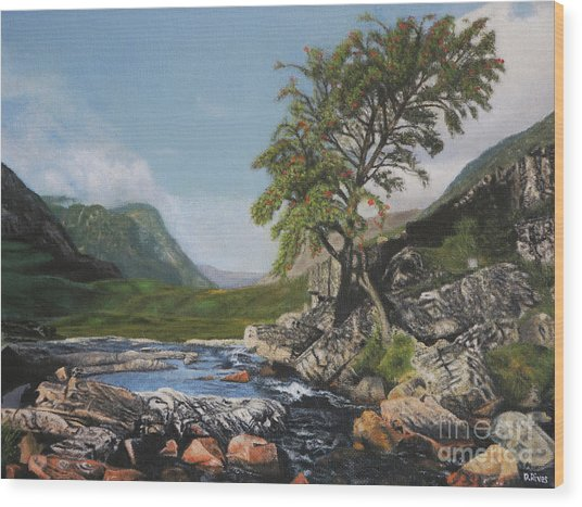 River Coe Scotland Oil On Canvas Wood Print