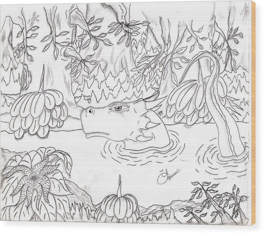 River Dragon Wood Print by Lynnette Jones