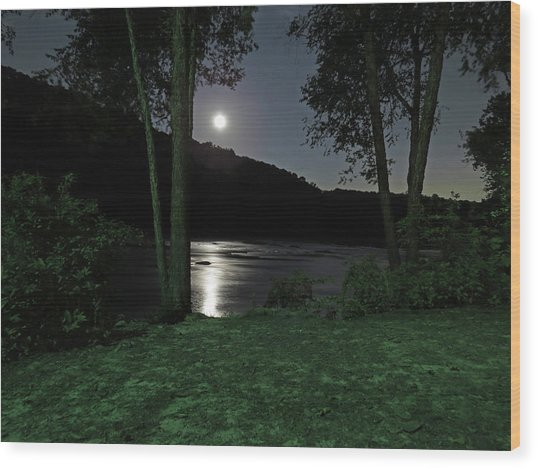 River In Moonlight Wood Print