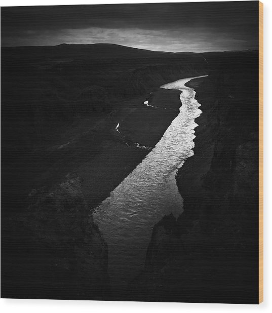 River In The Dark In Iceland Wood Print
