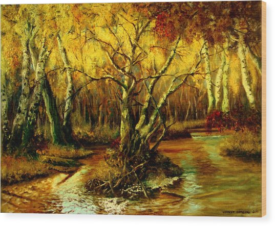 River In The Forest Wood Print