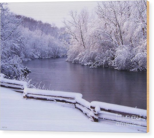 River In Winter Wood Print