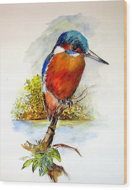 River Kingfisher Wood Print