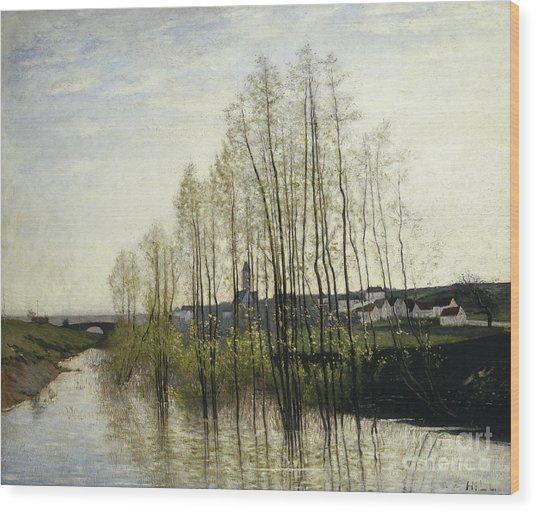 River Landscape, Champagne, 1876 Wood Print