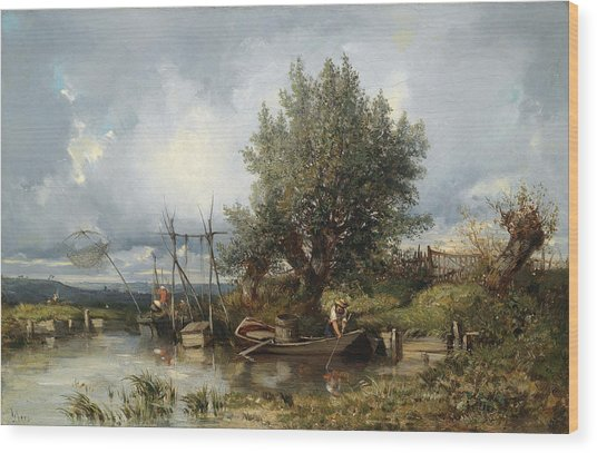 River Landscape With Anglers Wood Print