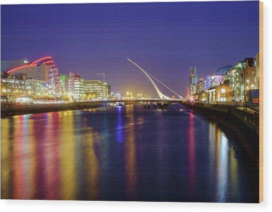 River Liffey In Dublin At Dusk Wood Print