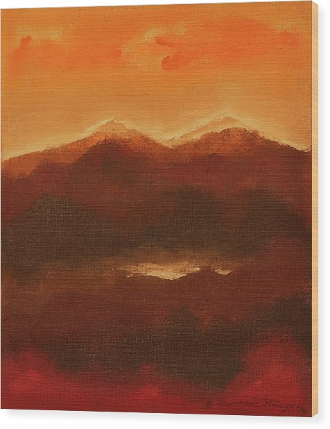 River Mountain View Wood Print