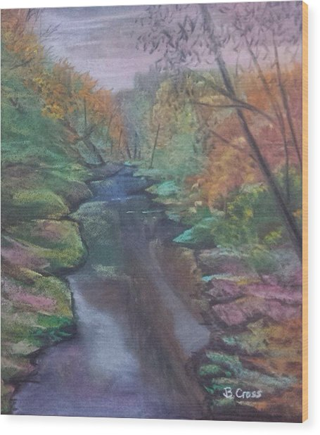 River In The Fall Wood Print