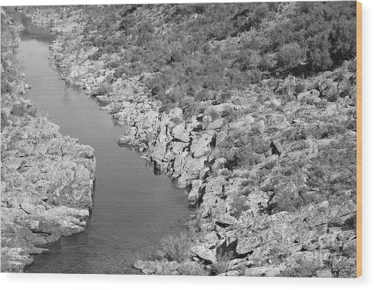 River On The Rocks. Bw Version Wood Print