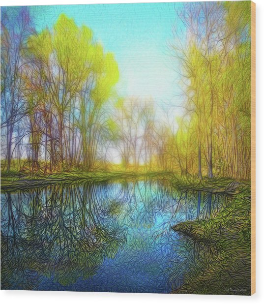 River Peace Flow Wood Print