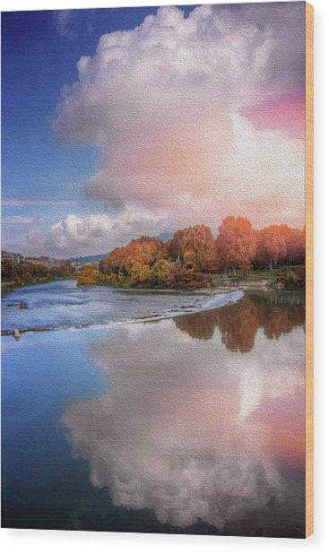 River Po Turin Italy  Wood Print