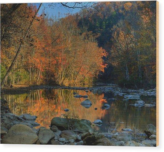 River Reflection Buffalo National River At Ponca Wood Print