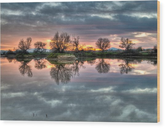 River Reflection Sunrise Wood Print