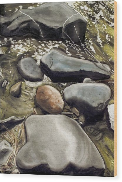 River Rock Formations Wood Print by Brenda Williams