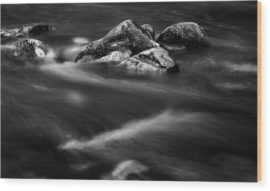 River Rock In Black And White Wood Print