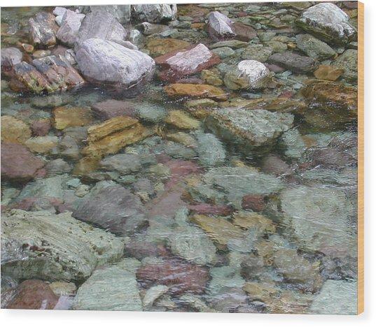 River Rocks Wood Print by Lisa Patti Konkol