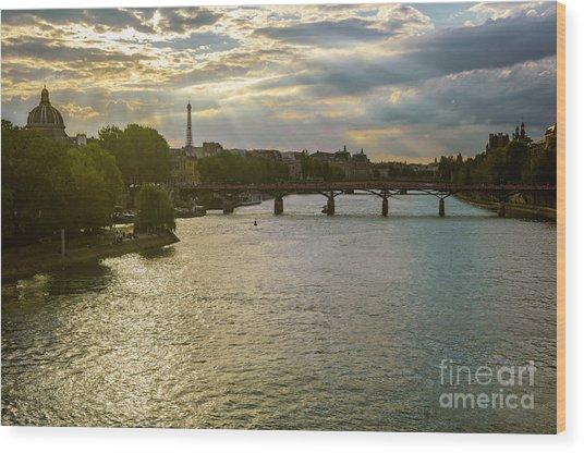 River Seine At Dusk Wood Print