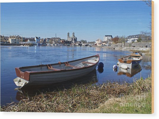 River Shannon At Athlone Wood Print