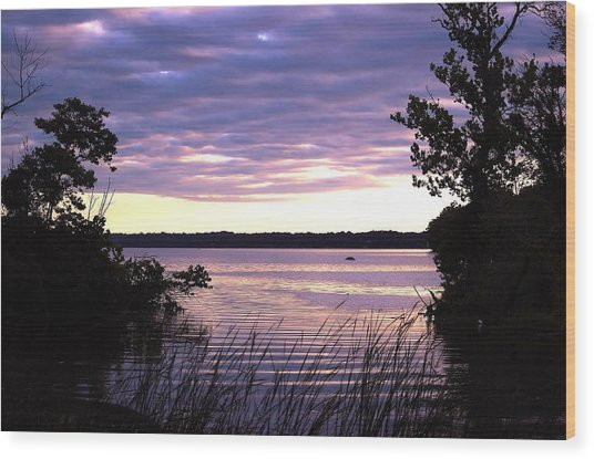 River Sunrise Wood Print