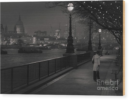 River Thames Embankment, London Wood Print