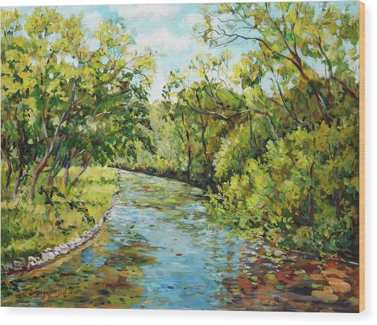 River Through The Forest Wood Print