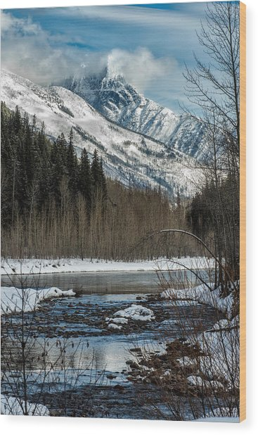 River To Peaks Glacier National Park Wood Print